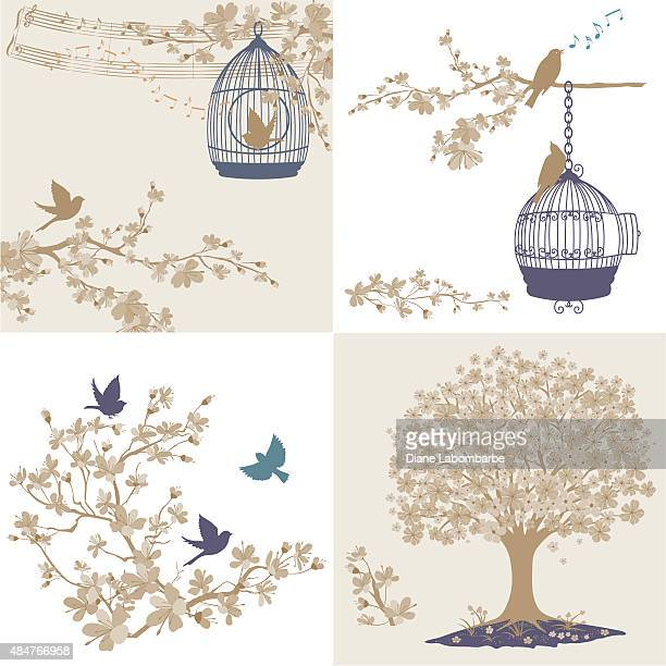 Cherry Blossoms Sakura And Birds Ornaments Set