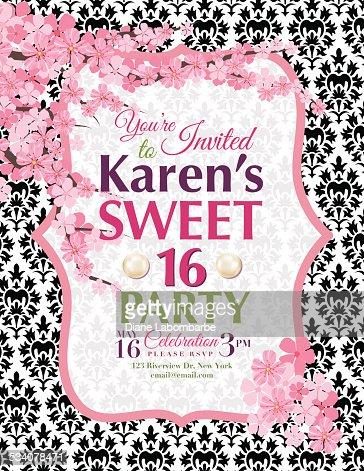 cherry blossoms sweet  birthday party invitation template vector, Birthday invitations