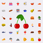 cherry icon. Resturant icons universal set for web and mobile on colored background