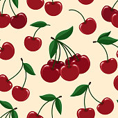 Cherry seamless pattern. Vector cherries fresh fruits vector seamless background