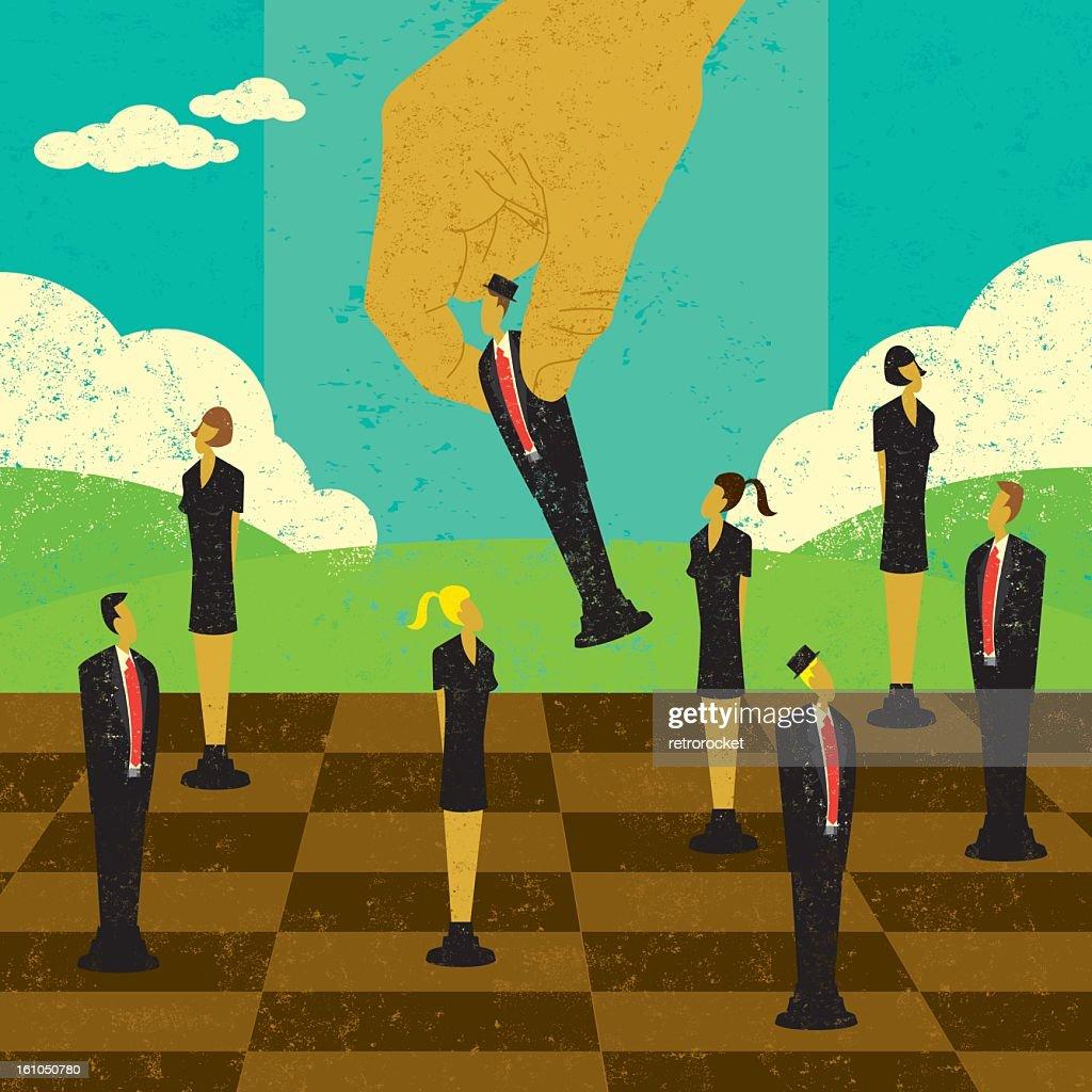 Chess board demonstrating strategic management : Stock-Foto