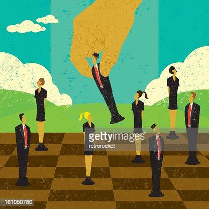 Chess board demonstrating strategic management : Vektorgrafik