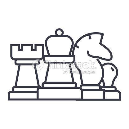 Chess Horse Rook Pawn Queen Linear Icon Sign Symbol Vector On