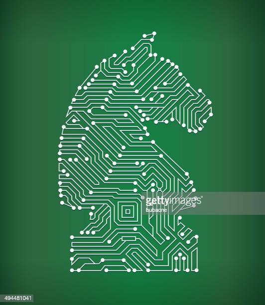 Chess Knight Circuit Board royalty free vector art background