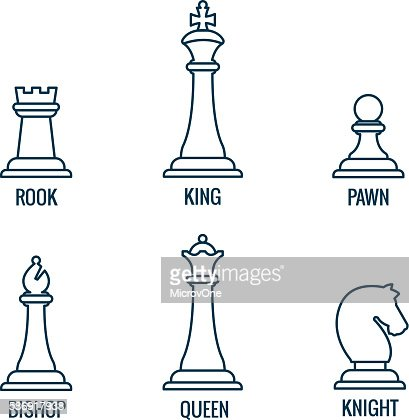 Chess Pieces Vector Thin Line Icons King Queen Bishop Rook Vector