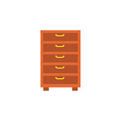 chest of drawers flat icon. Element of furniture colored icon for mobile concept and web apps. Detailed chest of drawers flat icon can be used for web and mobile. Premium icon on white background