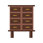 wooden chest of drawers icon over white background vector illustration