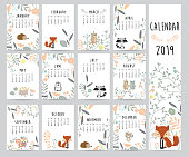 Chic monthly calendar 2019 with squirrel, fox, bear, skunk ,porcupine, penguin and wild