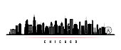 Chicago city skyline horizontal banner. Black and white silhouette of Chicago city, USA. Vector template for your design.