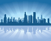 Chicago Illinois city skyline vector silhouette illustration