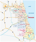 chicago, Illinois community vector map