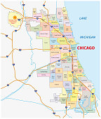 chicago, Illinois neighborhood vector map