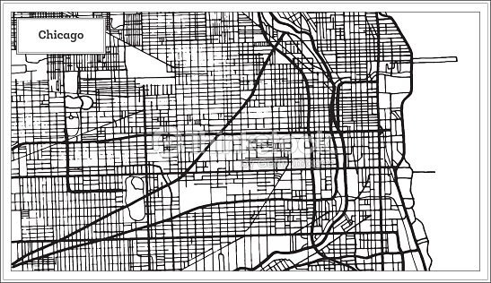Chicago Illinois Usa Map In Black And White Color stock vector ...
