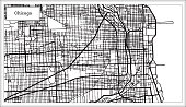 Chicago Illinois USA Map in Black and White Color. Vector Illustration. Outline Map.