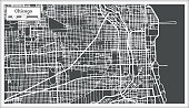 Chicago Illinois USA Map in Retro Style. Vector Illustration. Outline Map.