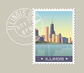 Illinois postage stamp design. Vector illustration of Chicago skyline on lake Michigan. Grunge postmark on separate layer