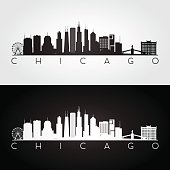 Chicago USA skyline and landmarks silhouette, black and white design, vector illustration.