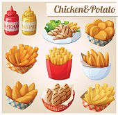 Chicken and potato. Set of cartoon vector food icons. Ketchup, mustard, grilled chicken strips, french fries, chicken fingers, sweet potato fries, nuggets