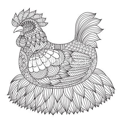 Chicken Coloring Book Vector Art | Thinkstock