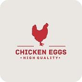 Chicken Eggs Label. Hen icon. Label vintage for your logo design, sticker, menu. Hen vector. Chicken. Eggs. Good for an emblem or a sticker. Hen logo. Hen label.
