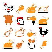Vector icons set - chicken leg, chicken dish vector icons set