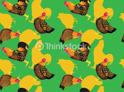 Chicken Golden Laced Wyandottes Cartoon Seamless Wallpaper