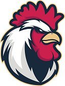 Clipart picture of a chicken rooster head cartoon mascot icon character