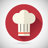 Chief Cook Symbol Toque cuisine Food Icon on Stylish Background Modern Flat Design Vector Illustration