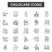 Chilcare line icons, signs set, vector. Chilcare outline concept illustration: baby,childcare,child,care,family,mother