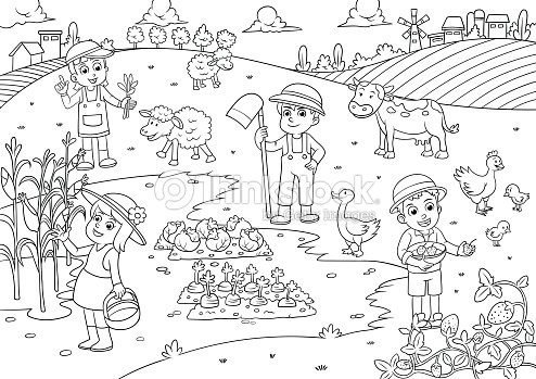 Niños Y Mascotas En La Granja Dibujos Animados Para Colorear Arte ...
