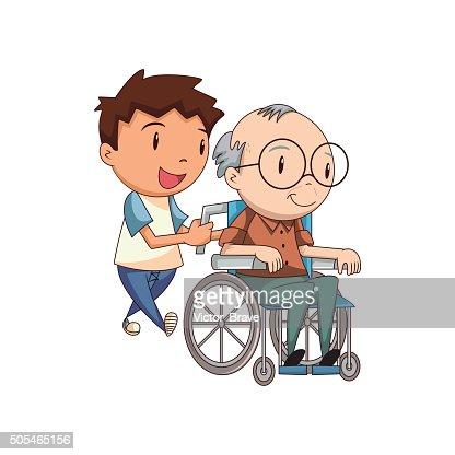 attentionn233 vieil homme enfant clipart vectoriel thinkstock