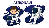 Child characters in Astronaut costume In space background.