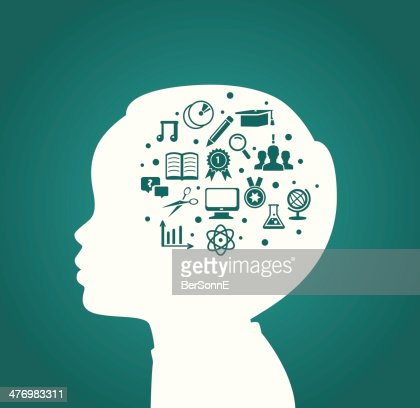 Child head with education icons : Vector Art