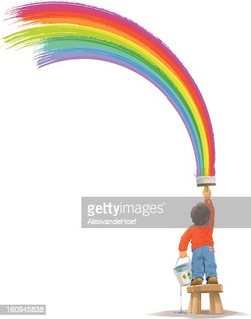 Child painting a big rainbow : Vector Art
