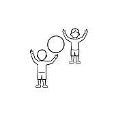 Child playing with friend hand drawn outline doodle icon. People playing with inflatable ball vector sketch illustration for print, web, mobile and infographics isolated on white background.