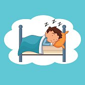 Child sleeping, bedtime, vector illustration, isolated, happy, cute cartoon character