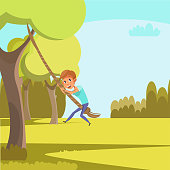 Child swinging on rope flat vector illustration. Little preschooler having fun in park cartoon character. Cheerful boy climbing tree. Childhood activity, summer pastime. Holiday at countryside