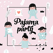Childish Design with Cute Girls in Pajamas. Girlish Children Background for Print, Cover, Card, Invitation. Vector illustration