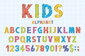 Childish font and alphabet in school style. Pencil scribbles stylized in english alphabet with numbers. Cute font for children. Vector