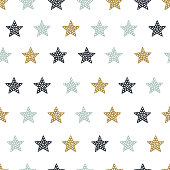 Childish seamless pattern with stars. Creative texture for fabric, textile