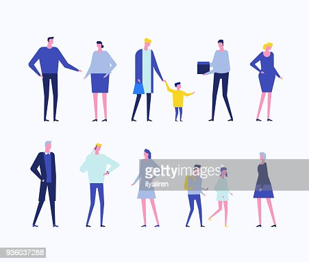 Children and adults - flat design style set of isolated characters : Arte vetorial