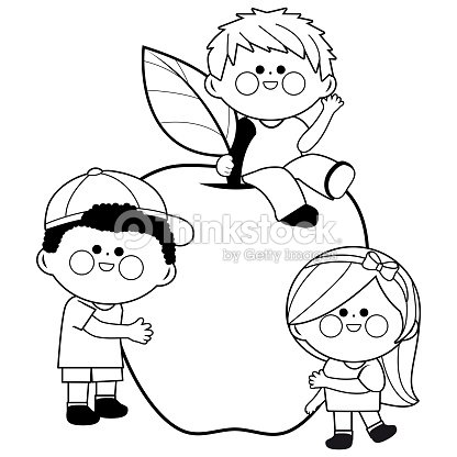 Children And Apple Black And White Coloring Book Page Vector Art ...