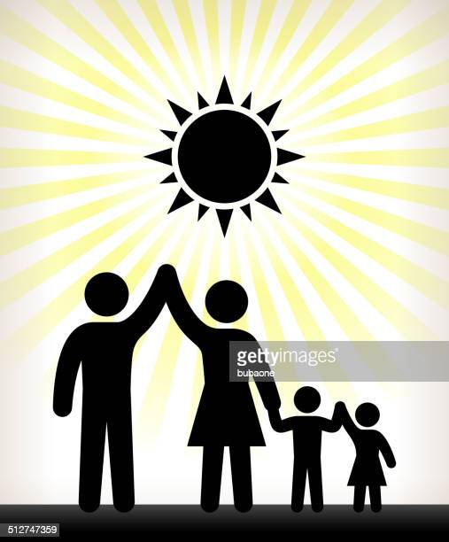 Children and Family Black and White Illustration