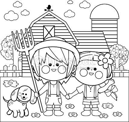 Coloriage Batiment Ferme.Enfants A La Ferme Noir Et Blanc Livre De Coloriage Clipart