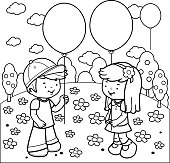 Vector black and white illustration of a boy and a girl at the park playing with balloons. Coloring book page.