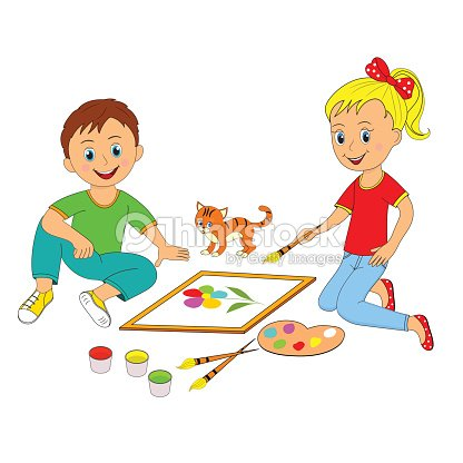 children boy and girl painting vector art - Cartoon Painting For Kids