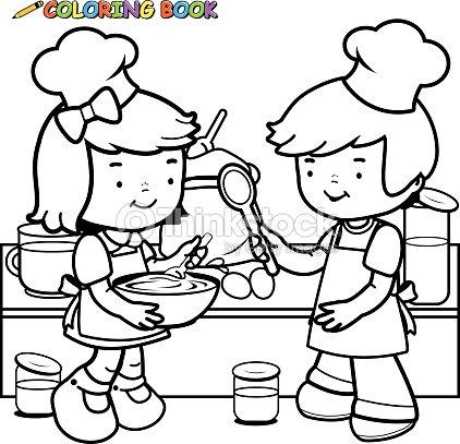 Niños Cocina Libro Para Colorear Página De Arte vectorial | Thinkstock