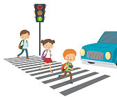 Children cross the road to a green traffic light. Cartoon vector isolated