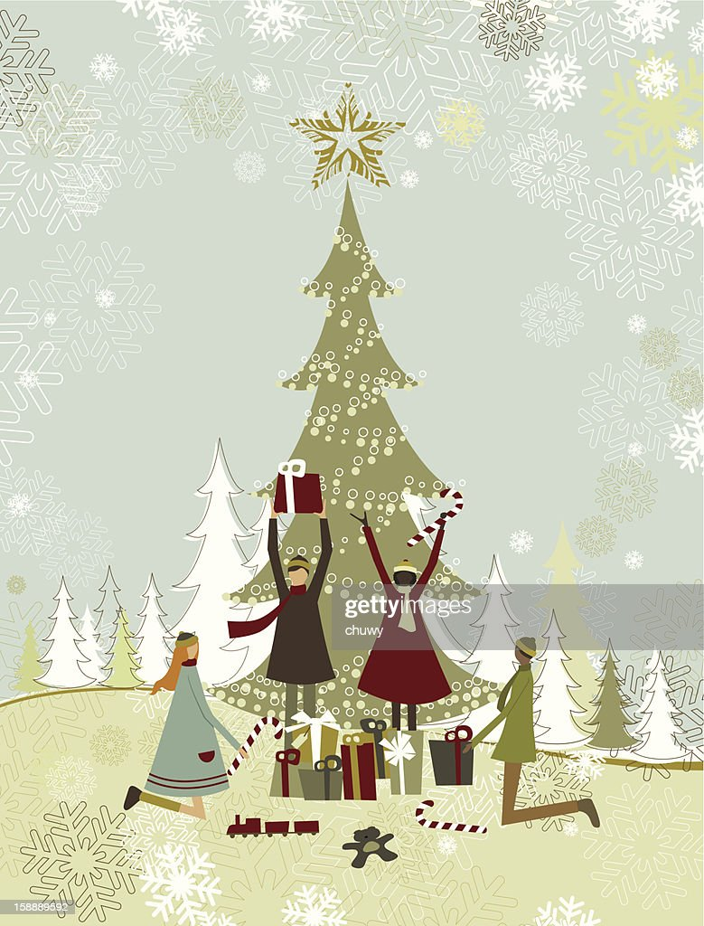 Children enjoying christmas gifts : Arte vetorial