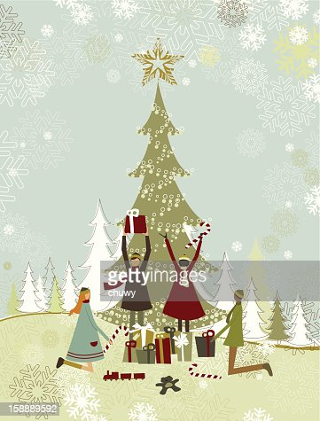 Children enjoying christmas gifts : Vector Art